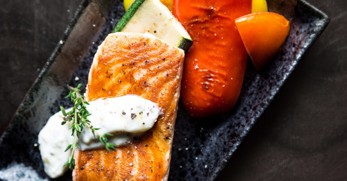 Grilled Salmon with Horseradish drizzle