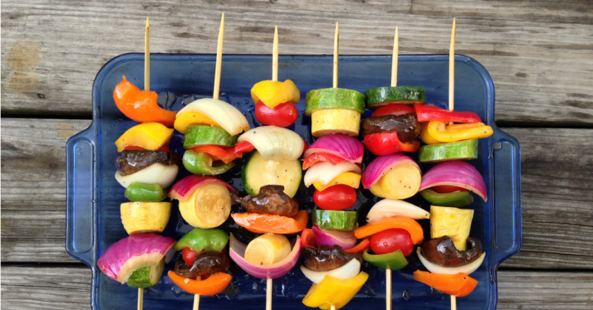 Balsamic veggie kebabs