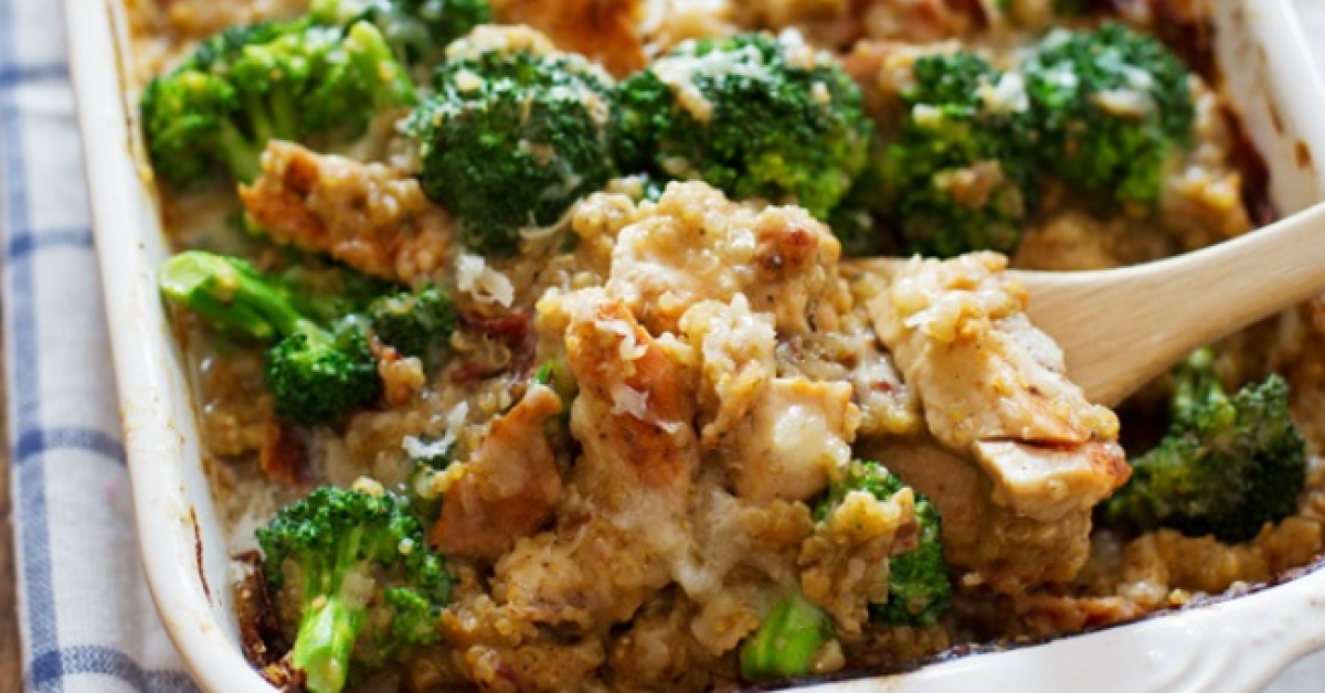 Thai flavoured quinoa and broccoli gratin